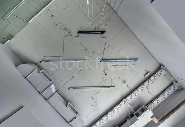 Interieur vliering stijl plafond lampen communicatie Stockfoto © bezikus