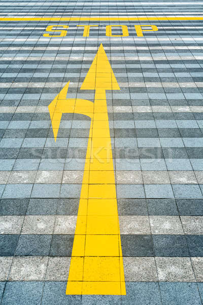 Yellow road marking on pave Stock photo © bezikus