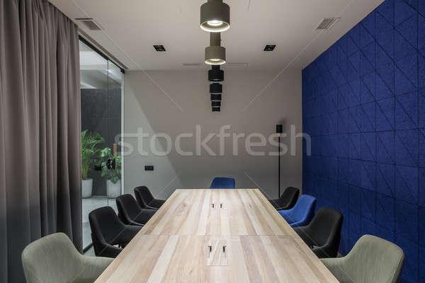Güzel konferans salonu gri mavi duvarlar şık Stok fotoğraf © bezikus