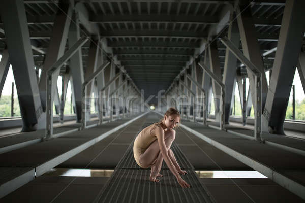 Portret jonge bevallig ballerina vol hoogte Stockfoto © bezikus