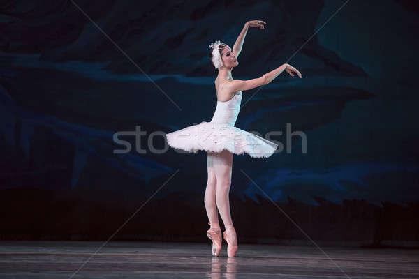 Stock fotó: Ballerina · fehér · hattyú · színpad · tánc · dekoratív