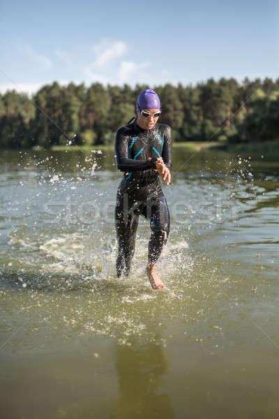 Kız su aktif kadın koşucu açık havada Stok fotoğraf © bezikus