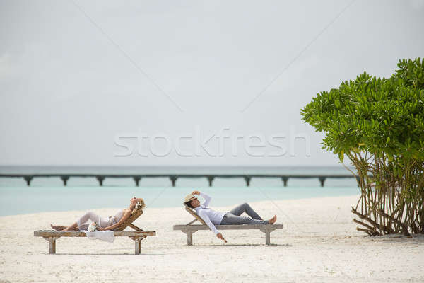 Stockfoto: Paar · zon · liggen · strand · bloem · boom