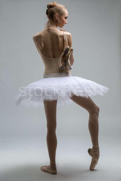 Stock photo: Portrait of young ballerina in white tutu