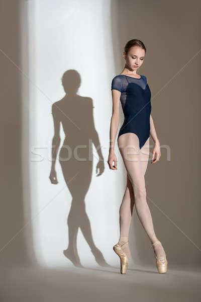Vol groei portret bevallig ballerina studio Stockfoto © bezikus