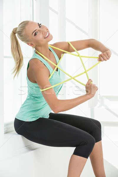 Studio portret mooie ritmisch gymnastiek Geel Stockfoto © bezikus