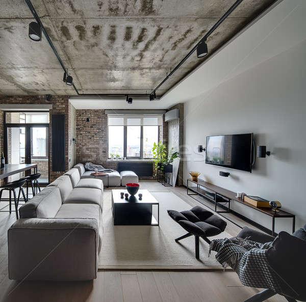 Iç çatı katı stil beyaz tuğla duvarlar Stok fotoğraf © bezikus