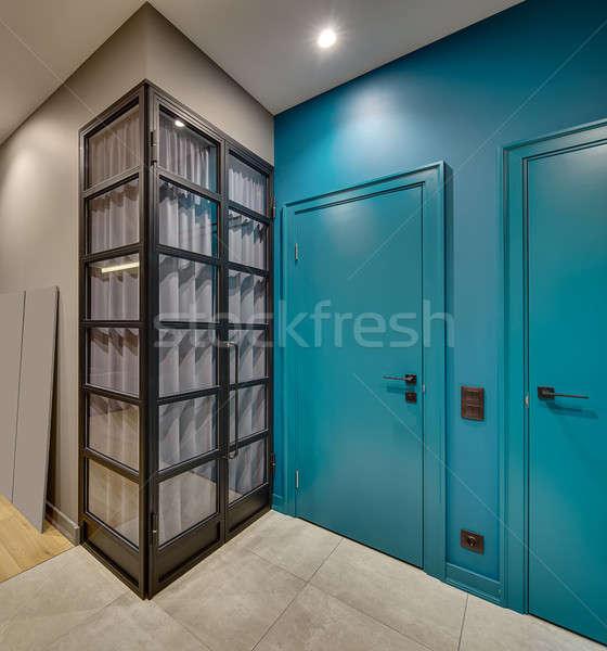 Sala estilo moderno contemporáneo interior dos azul Foto stock © bezikus