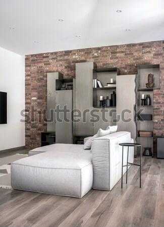 Belső modern stílusú előcsarnok fehér falak szürke Stock fotó © bezikus