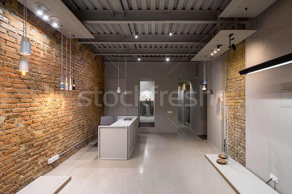 Belső padlás stílus iroda tégla szürke Stock fotó © bezikus