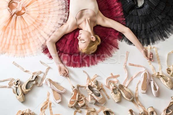 Young ballerina in white tights Stock photo © bezikus