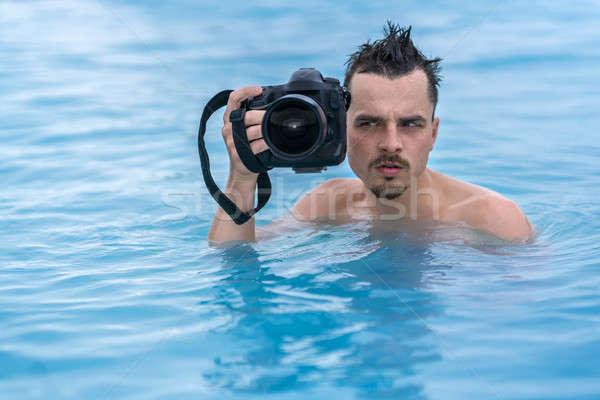 Vent ontspannen zwembad buitenshuis belachelijk zwarte Stockfoto © bezikus