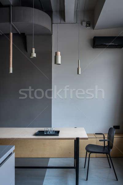 Stylish office in loft style with gray walls Stock photo © bezikus
