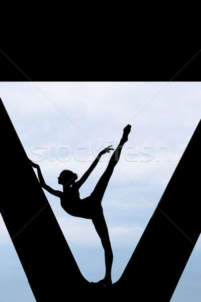 Stock photo: Silhouette of a graceful ballerina