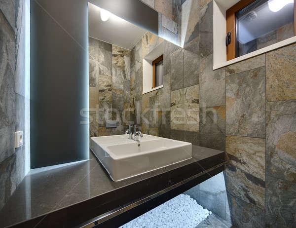 Stock foto: Waschraum · modernen · Stil · dekorativ · Fliesen · Wände · weiß