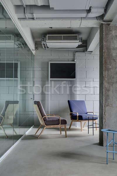 Ofis çatı katı stil iç ışık tuğla duvar Stok fotoğraf © bezikus