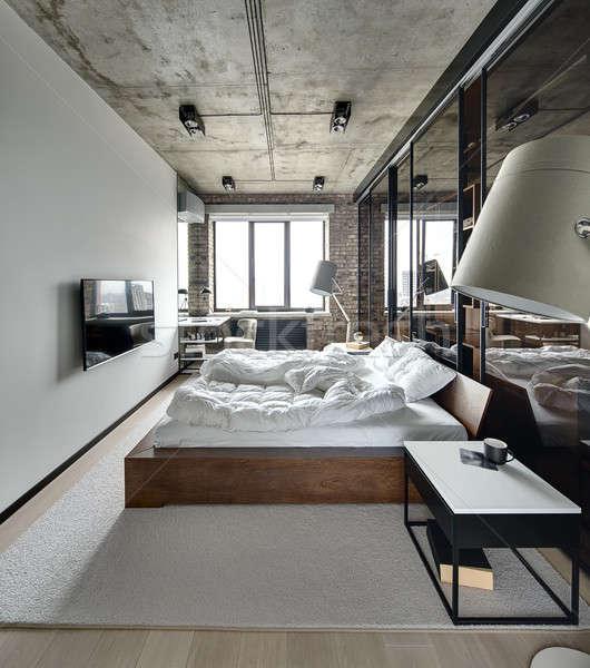 Vliering · stijl · slaapkamer · muur · beton · plafond - stockfoto ...