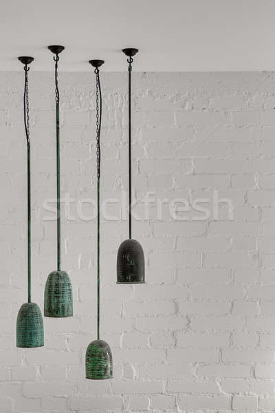 Enforcamento malaquita lâmpadas elegante quatro branco Foto stock © bezikus