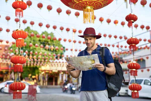 Stock photo: Traveler on city street