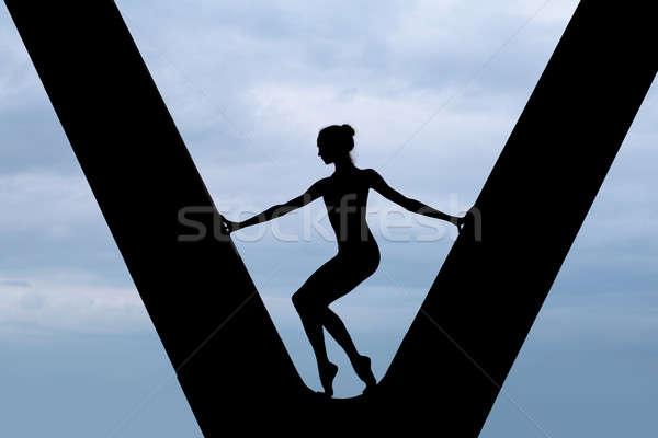 Stockfoto: Silhouet · bevallig · ballerina · zwarte · badpak · oefening