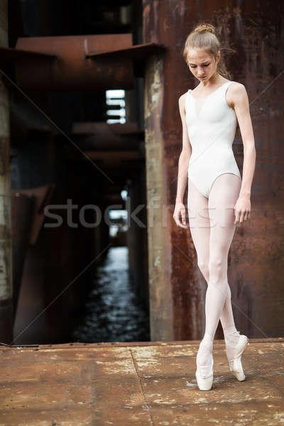 Kecses ballerina városi fehér fürdőruha áll Stock fotó © bezikus