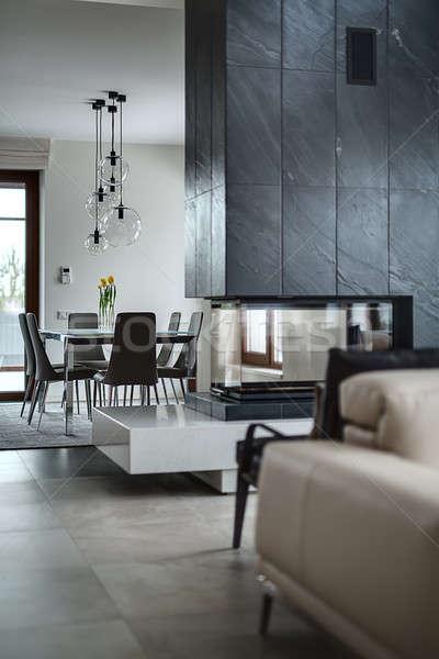 Előcsarnok kandalló üveg fekete kémény asztal Stock fotó © bezikus