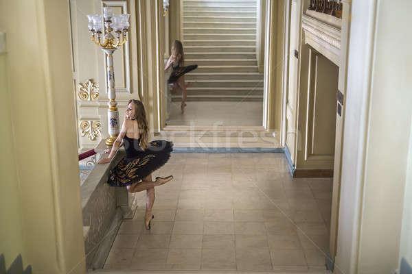 Ballerina pózol belső bájos fekete színes Stock fotó © bezikus