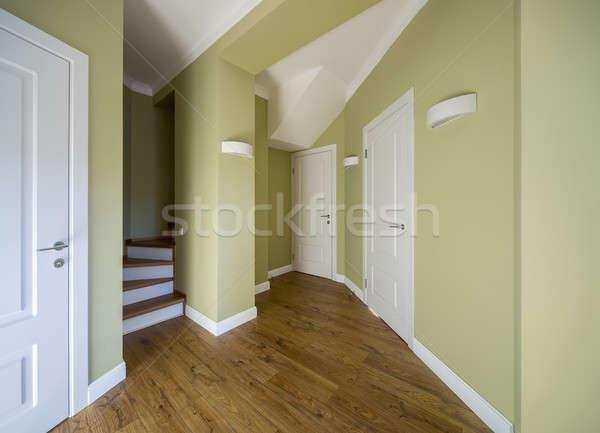 Belső modern stílusú előcsarnok fény falak padló Stock fotó © bezikus