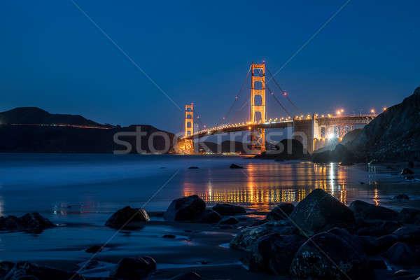 éjszaka városkép Golden Gate híd megvilágított San Francisco Kalifornia Stock fotó © bezikus