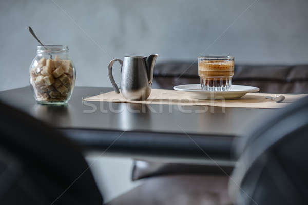 Coffee espresso on black glossy table. Stock photo © bezikus