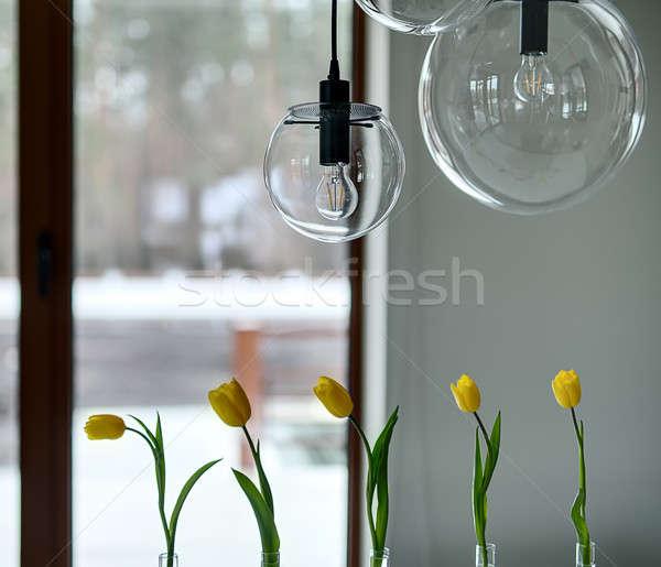 Tulips on the window background Stock photo © bezikus