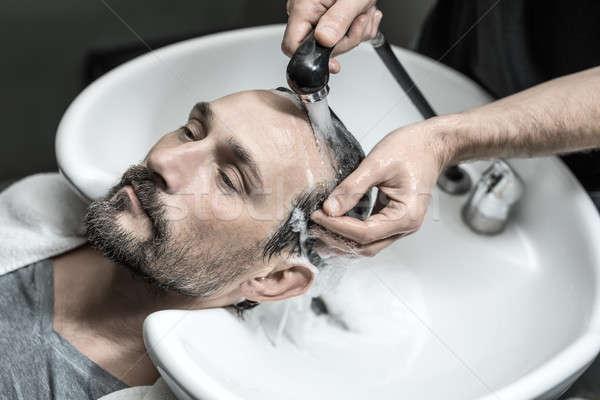 Mosás fej aranyos férfi szakáll hazugságok Stock fotó © bezikus