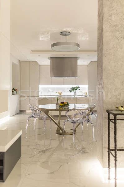 キッチン モダンなスタイル 白 現代 タイル張りの 階 ストックフォト © bezikus
