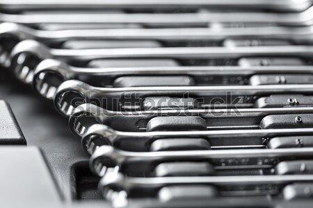Chrome metal spanners in toolbox  Stock photo © bezikus