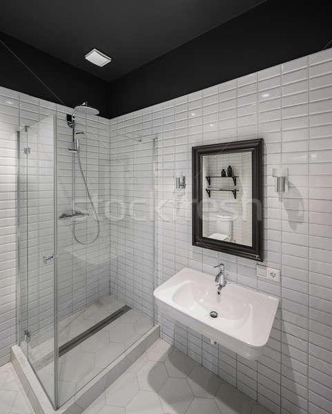 Salle · de · bain · style · moderne · contemporain · blanche ...