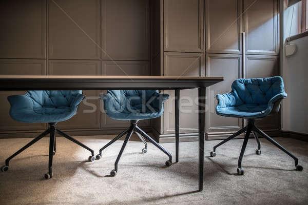 Modern tárgyalóterem üres szürke szőnyeg padló Stock fotó © bezikus