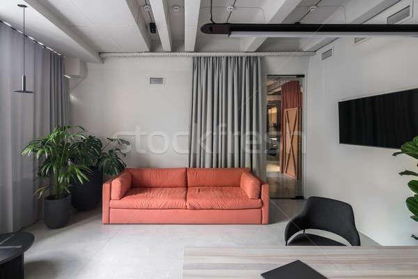 Mooie kantoor vliering stijl grijs muren Stockfoto © bezikus