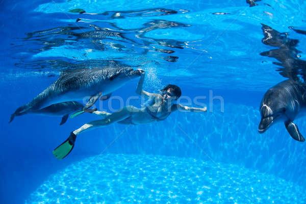 Delfiny dziewczyna wody oczy włosy kiss Zdjęcia stock © bezikus