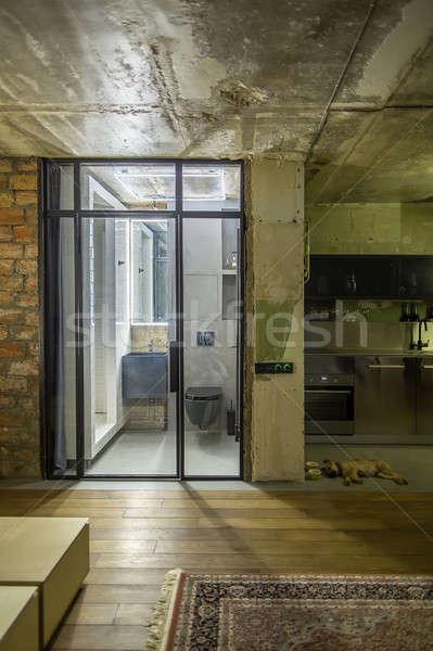 Strych stylu sali cegły ściany Zdjęcia stock © bezikus