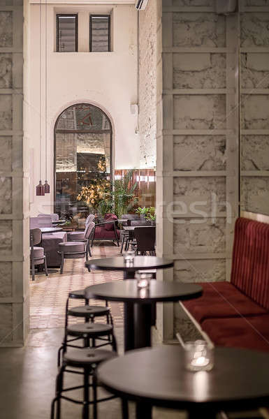 Restaurant grenier style café lampes minable Photo stock © bezikus