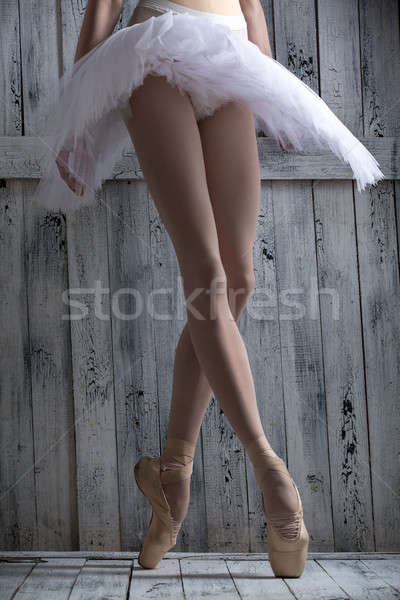 Fiatal lábak kecses ballerina stúdiófelvétel táncos Stock fotó © bezikus