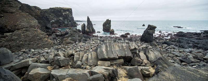 Icelandic landscape of rocky seashore Stock photo © bezikus