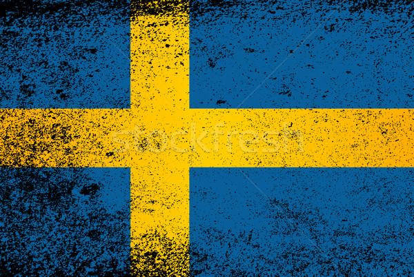 フラグ スウェーデン グランジ 青 黄色 効果 ストックフォト © Bigalbaloo