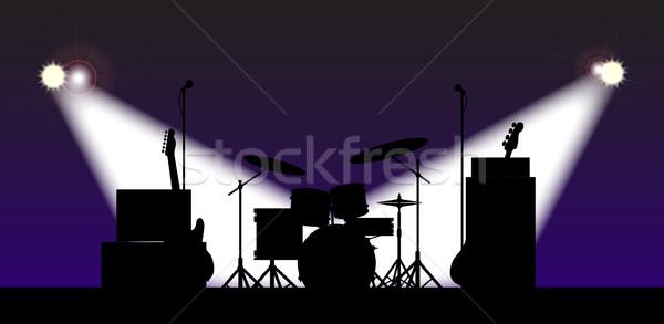Rock band fase silhouette rock Hat Foto d'archivio © Bigalbaloo