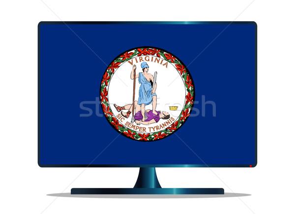 Pavillon tv écran de l'ordinateur ordinateur suivre mac Photo stock © Bigalbaloo