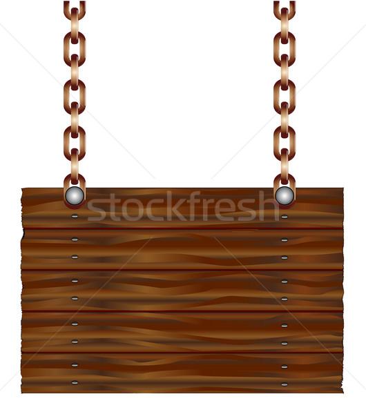Hanging Wooden Sign Stock photo © Bigalbaloo