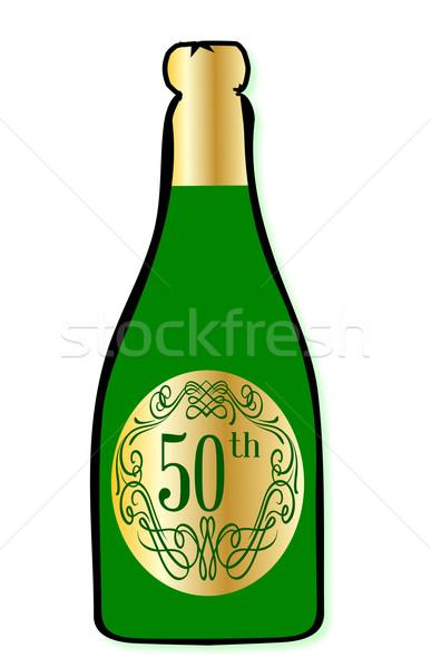 Celebração garrafa de vinho parabéns garrafa champanhe Foto stock © Bigalbaloo