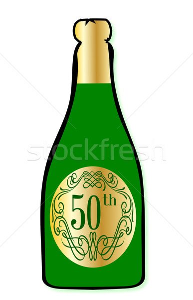 Celebración botella de vino felicitaciones botella champán Foto stock © Bigalbaloo