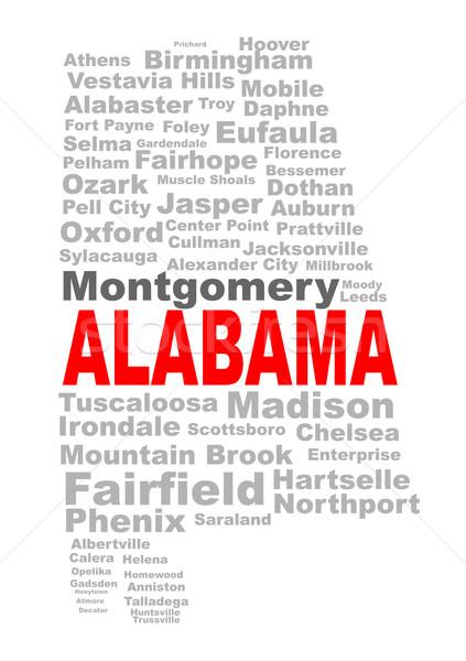Alabama kelime bulutu siluet biçim metin şehirler Stok fotoğraf © Bigalbaloo