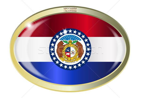 Миссури флаг овальный кнопки металл изолированный Сток-фото © Bigalbaloo